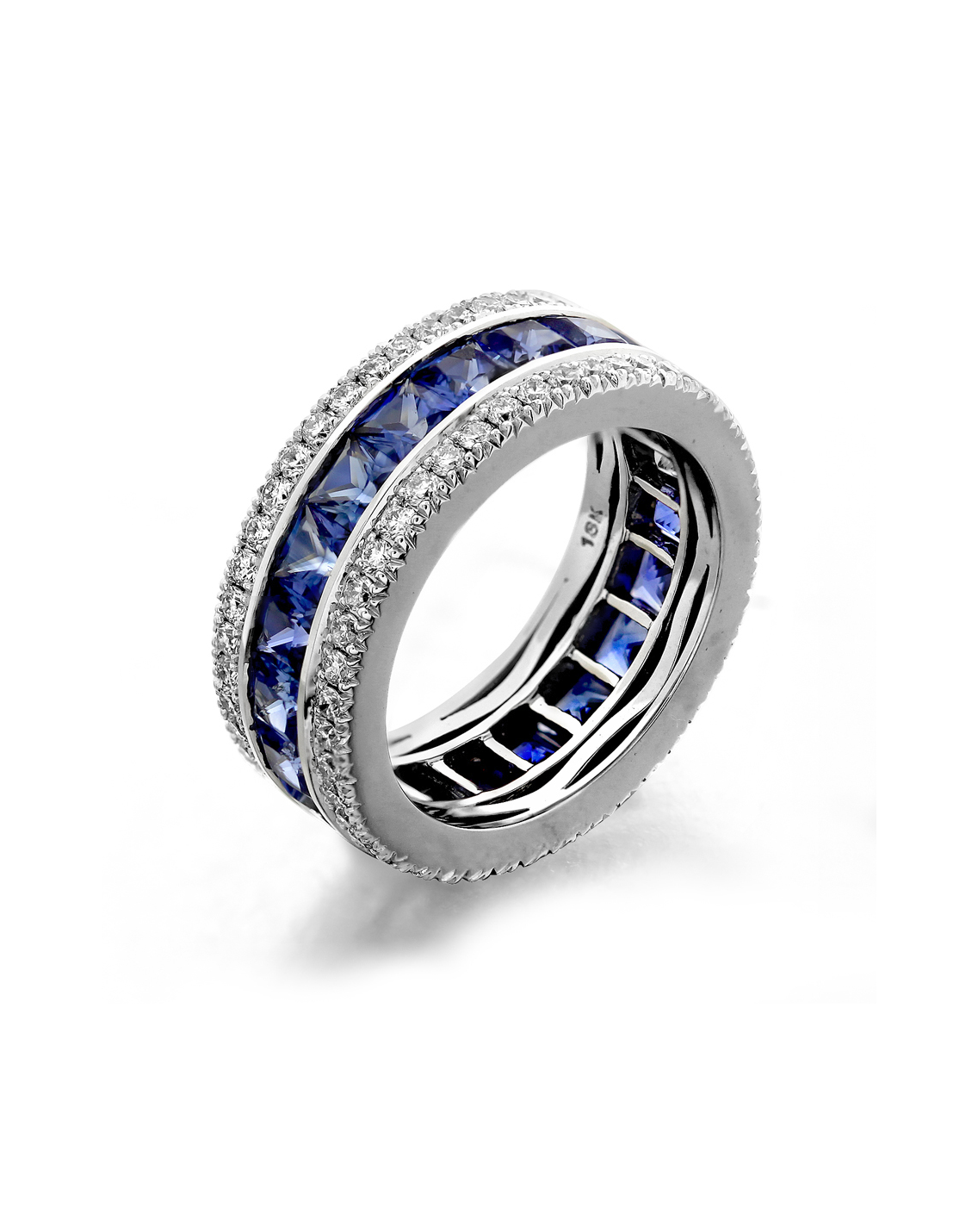 This is a picture of Diamond and Sapphire Eternity Wedding Band