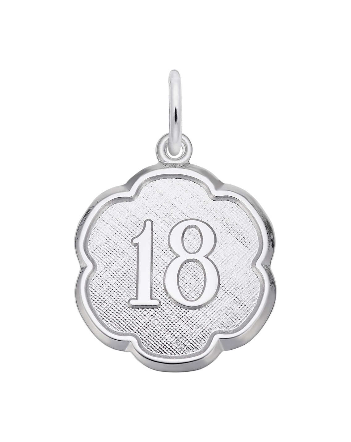 Number 18 Scalloped Disk Charm